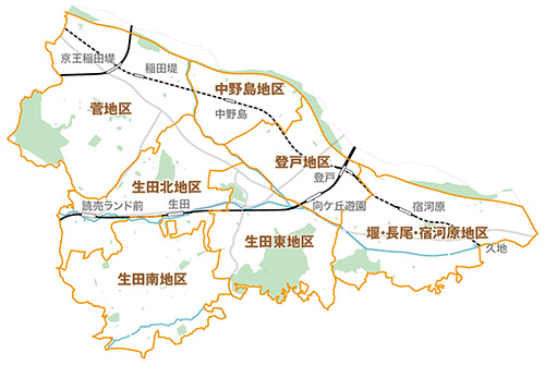 多摩区内の大まかな地区分け : 【決定版】川崎市多摩区が ...